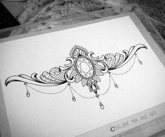 64 Trendy Tattoo Back Mandala Posts Jewel Tattoo, Lace Tattoo, Sternum Tattoo Design, Tattoo Designs, Neue Tattoos, Body Art Tattoos, Pretty Tattoos, Beautiful Tattoos, Chandelier Tattoo