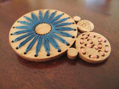 embroidered wood