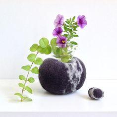 Felted wool rock-shaped vase. Ideal for a tillandsia air