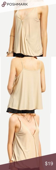 ❗️FINAL PRICE DROP❗️Spaghetti Strap Cami Top Just in time to start stocking your closet for the Spring/Summer. This is a Apricot wrap spaghetti strap cami top that is casual. Cami can be dressed up or down. So many ways to wear! Tops Camisoles