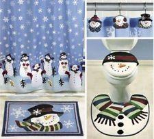 5pc SNOWMAN CHRISTMAS BATH SET Shower Curtain Rugs MORE