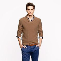 Shop this look for $108:  http://lookastic.com/men/looks/brown-v-neck-sweater-and-white-and-navy-longsleeve-shirt-and-brown-belt-and-navy-chinos/2646  — Brown V-neck Sweater  — White and Navy Plaid Longsleeve Shirt  — Brown Leather Belt  — Navy Chinos