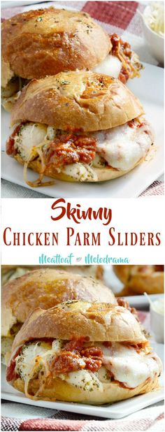Skinny Chicken Parm Sliders - A quick and easy dinner baked one sheet pan with seasoned chicken tenders, marinara sauce and Parmesan and mozzarella cheese! from meatloafandmelodrama.com