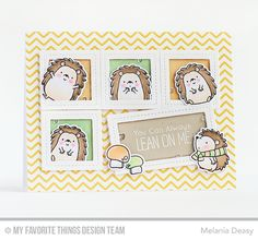 Happy Hedgehogs Stamp Set and Die-namics, Single Stitch Line Rectangle Frames Die-namics, Single Stitch Line Square Frames Die-namics - Melania Deasy  #mftstamps