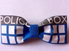 Tardis Bowtie ((Doctor Who)) via Etsy Eleventh Doctor Quotes, Doctor Who Wedding, Fabric Hair Bows, Police Box, Geek Chic, Geek Stuff, My Style, Gifts, Bowties