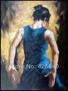 Spanischer Flamencotänzer malerei latina frau ölgemälde auf leinwand hight Qualität handgemalte Gemälde latina blau rock(China (Mainland))