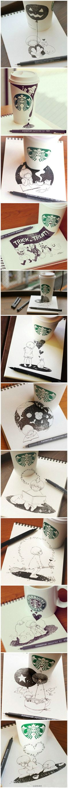 beautiful and imaginative coffee cup art-don't care for Halloween drawings but awesome idea. Starbucks Cup Art, Starbucks Coffee, Coffee Cup Art, Web Design, Crayon, Storyboard, Amazing Art, Awesome, Cute Art