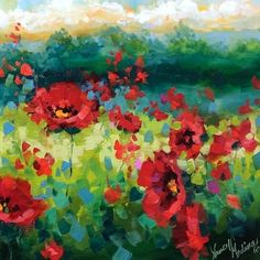 Rainy Days Are Here Again Poppies - Flower Paintings by Nancy Medina, painting by artist Nancy Medina