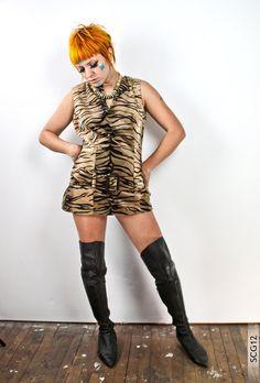 90's Animal Print Faux Fur Mod Dress - Medium