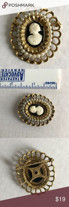 VTG Cameo Pin Pretty brushed gold tone pin with a nice weight to it.  It has tiny seed pearls surrounding the cameo. Jewelry Brooches