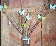Vintage Inspired Home Decor, Wedding Centerpieces, Bridal or Baby Shower Table Settings, Die Cut Butterflies by Scrapbugs. $1.00, via Etsy.  Next DIY project!