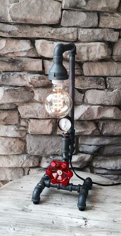 Rotating valve lamp switch on this cool steampunk, industrial style lamp by Bull Run Vintage.