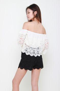EVITA LACE SHORTS - BLACK – Bella Blizz Black Lace Shorts, Slip On, Crop Tops, Model, How To Wear, Style, Fashion, Swag, Moda