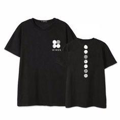 BTS Bangtan Boys Official Wings Album Kpop Super Famous Black T-Shirt  v