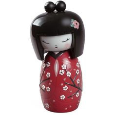 Lladró Kokeshi II Figurine (£310) ❤ liked on Polyvore featuring home, home decor, lady figurines, red home decor, red figure, doll figurines and inspirational home decor
