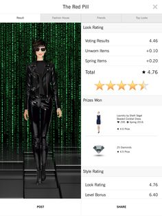 Happy with this good score. My Trinity from The Matrix was spot-on, and should have done better, but judging by the voting, people had no idea who she even was.   #covetfreebie1605  #fiver_if_I_spent1605 #covetfashion1605
