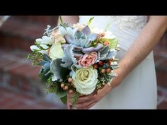 Triangle Nursery - Creating a bouquet with Roses, Eucalyptus and beads - YouTube