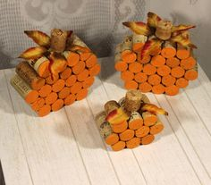 Rustic Fall Pumpkin Decoration  These little adorable pumpkins are made with wine corks. They are perfect for decoration in your house or for a fall wedding, baby shower, or bridal shower.  One side of the pumpkin is painted. If you would like the other side painted please put in the section Note to seller that you would like both sides painted before checking out. **** If you need more than 5 please message me before placing the order to make sure I have enough supplies at that time…