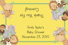 Baby Shower Jungle Babies Candy Bag Label ANY COLOR SCHEME