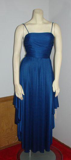 Vintage 70s Disco Dress Cadet  Blue dress XS by TheScarletMonkey