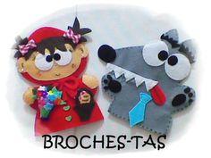 BROCHES-TAS: ¿QUIEN TEME AL LOBO FEROZ? Felt Embroidery, Machine Embroidery, Felt Puppets, Felt Crafts Diy, Marionette, Sock Animals, Felt Toys, Projects For Kids, Dolls