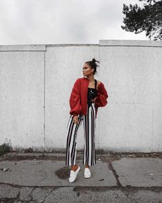 Chic & Fashion Forward | Red, Black, & White | Silhouette: High waisted striped trousers, cropped top & oversized jacket