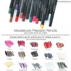 #Younique Moodstruck Precision #Pencils Launch Date SEPTEMBER 1ST.  Smudge Proof, Water Proof, Silk smooth coverage The Best Eyeliners and Lipliners you'll ever have!!!  #eyes #lips #ILoveMakeup