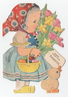 Vintage Greeting Card Easter Cute Dutch Girl Flowers Die Cut Gibson Flocked J883 | eBay