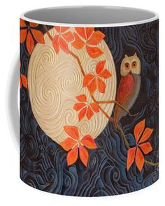 """Visitors to this pin might like to see this image """"Owl and Moon on a Quilt"""" online at Fine Art America and Pixels (Click the image). Ceramic coffee mug comes in two sizes: 11 oz. and 15 oz. The image can also be purchased as prints, greeting cards, phone cases, clothing, and more. Here is the link: https://pixels.com/featured/owl-and-moon-on-a-quilt-nancy-lee-moran.html ♡ Thank you from the artist! Art © Nancy Lee Moran #orange #NancyLeeMoran #owl #coffeemug"""