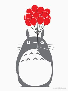 """Totoro with Balloons"" T-Shirts & Hoodies by greenbirdpress 