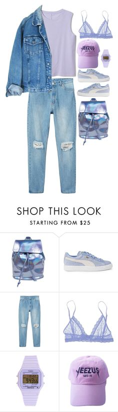 """""""petunia"""" by cosmogxral on Polyvore featuring Puma, Monki, Eberjey et Timex"""