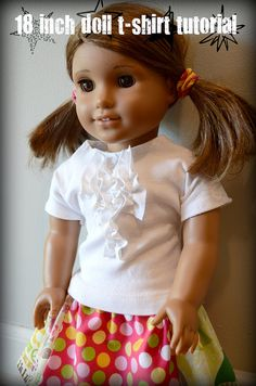 American Girl Doll t-shirt pattern. I like the look of this one because the sleeves don& have to be sewn on. Tutorial by newgreenmama Sewing Doll Clothes, Sewing Dolls, Girl Doll Clothes, Doll Clothes Patterns, Doll Patterns, Girl Dolls, Ag Dolls, American Girl Outfits, Ropa American Girl