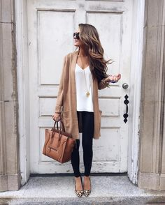 Fall outfit - camel cardigan, white tank, skinny jeans, leopard print flats and camel Celina bag