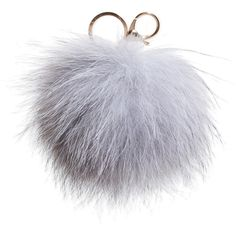 Dena Real Fox Fur Pom Pom Key Chain (78 PEN) ❤ liked on Polyvore featuring accessories, jewelry, fillers, grey, fob key chain, pom pom key chain and key chain