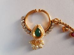 Beautiful! indian nose Nath for Non Pierced nose-Bridal Nose Ring with chain-Septum Ring-Decorated gemstone and Pearl nosetril-nose jewellry