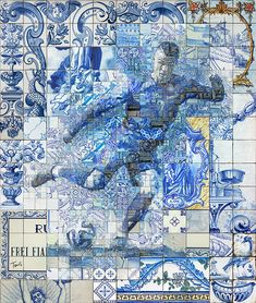 Mosaic illustrations based on the Portuguese traditional tile painting (Azulejo). A tribute to Cristiano Ronaldo dos Santos Aveiro by Charis Tsevis. A personal project. Soccer Art, Football Soccer, College Football, Cristiano Ronaldo Wallpapers, Mosaic Tile Art, Mosaic Portrait, Fc Chelsea, Portuguese Tiles, Cool Paintings