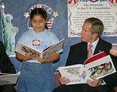 Bush's 9/11 Visit to Booker Elementary School- THE VIDEO mind controlled? Clone? does he know the book is upside-down?