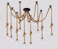 винтажный промышленных ретро паук люстра пеньки веревки подвеска лампа потолка света
