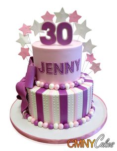Jenny's 30th Birthday Cake We made this fun and fanciful cake for Jenny when she celebrated her 30th birthday. Jenny loves pink and purple and we were happy to oblige! The guest list required catering for 20 people, and we set out to create a two tier cake with a vanilla and vanilla meringue butter cream filling in the first tier and a red velvet and cream cheese filling in the second tier. http://cmnycakes.com/gallery2/v/Cakes+For+All+Occasions/Jennys+30th+Birthday+Cake.html