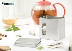 Embalagem de metal para chá.