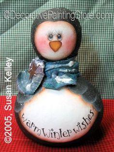 Penguin Gourd ePacket - Susan Kelley - PDF DOWNLOAD #PaintingEPattern #paintingpattern #penguingourd