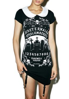 Killstar Furious Faith Suspender Dress is gunna test yer conviction tonight, bb… This dangerous mini dress features a suuuper stretchy 'N form fitting black construction, contrasting white peter pan collar, a haunting graveyard graphic across the front surrounded by ouija style lettering, and sexy suspender straps hanging off the front 'N back hem.