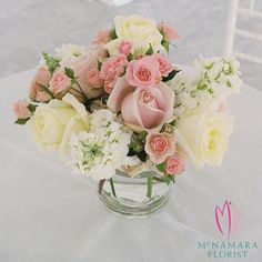 Mixed floral centerpiece. Design by McNamara Florist. All Rights Reserved.
