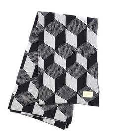 Ferm Living Squares Kniited Blanket Black This stylish Ferm LIVING Squares jacquard knit blanket is reversible with black and light grey pattern. The blanket is made from cotton and has a leather logo l Danish Design Interior, Cotton Blankets, Knitted Blankets, Throw Blankets, Throw Rugs, Textiles, Contemporary Blankets, Contemporary Furniture, Kartell