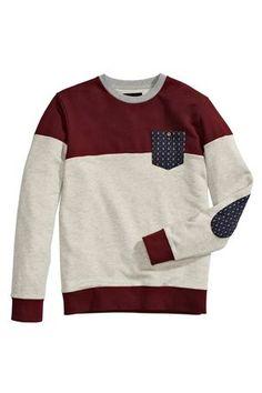 Burgundy Cut And Sew Pattern Crew Neck. Little boy