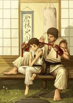 Sakura y Ryu. Street Fighter.