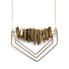 Lunar Ridge Necklace in Gold Quartz by Mineral and Matter.