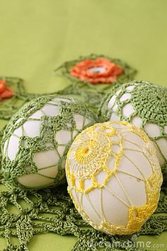 Photo about Easter eggs with beautiful yellow and green crochet decoration. Image of decoration, ornament, easter - 17681818 Easter Egg Pattern, Easter Crochet Patterns, Crochet Patterns For Beginners, Holiday Crochet, Crochet Home, Free Crochet, Egg Shell Art, Crochet Decoration, Egg Art