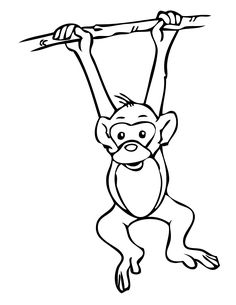 hanging monkey coloring page - Kids Coloring Book Pages
