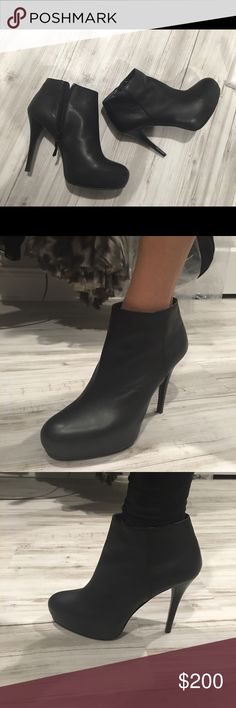 Stuart weitzman ankle booties size 7 blackleather Stuart weitzman ankle booties size 7, black leather. Pristine condition worn once Stuart Weitzman Shoes Ankle Boots & Booties